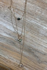 Jewelry Triple Chain Bead Necklace