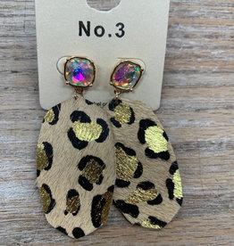 Jewelry Leather Leopard Stone Earrings