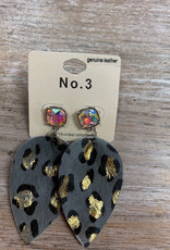 Jewelry Gray Leopard Leather Earrings