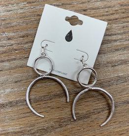 Jewelry Silver Circle Moon Earrings