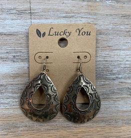 Jewelry Gold Western Teardrop Earrings