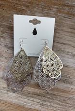 Jewelry Gold Silver Ornate Design Earrings