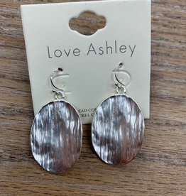 Jewelry Silver Hammered Oval Earrings