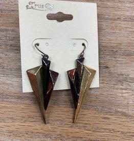 Jewelry Triple Metal Triangle Earrings