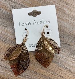 Jewelry Double Gold Leaf Earrings