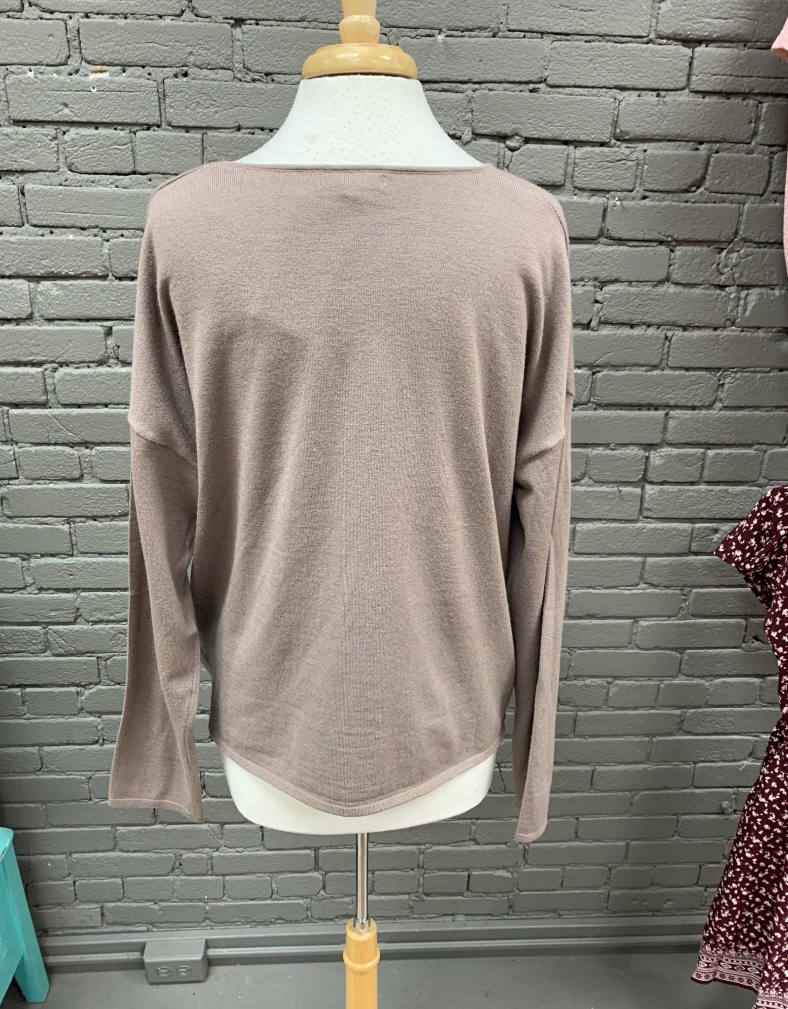 Long Sleeve Mkenzie brown drawstring long sleeve