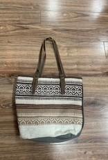 Bag Beige Tribal Patterned Tote Bag