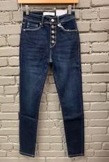 Jean Delia Dark High Rise Button Jeans