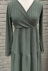 Dress Alora green ribbed dress