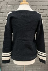 Sweater Maija black v shape patterned sweater