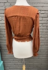 Long Sleeve Cathy orange ruffled long sleeve