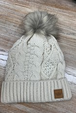 Beanie Ivory Cable Cuff Natural Pom Beanie