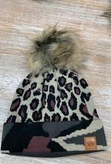 Beanie Leopard Camo Cuff Pom Beanie