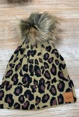 Beanie Leopard Cuff Pom Beanie