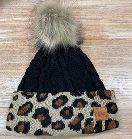 Beanie Black Cable Leopard Cuff Pom Beanie