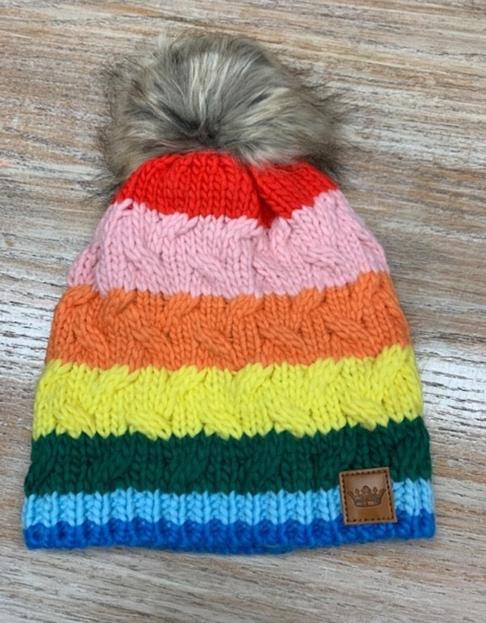 Beanie Rainbow Stripe Pom Beanie