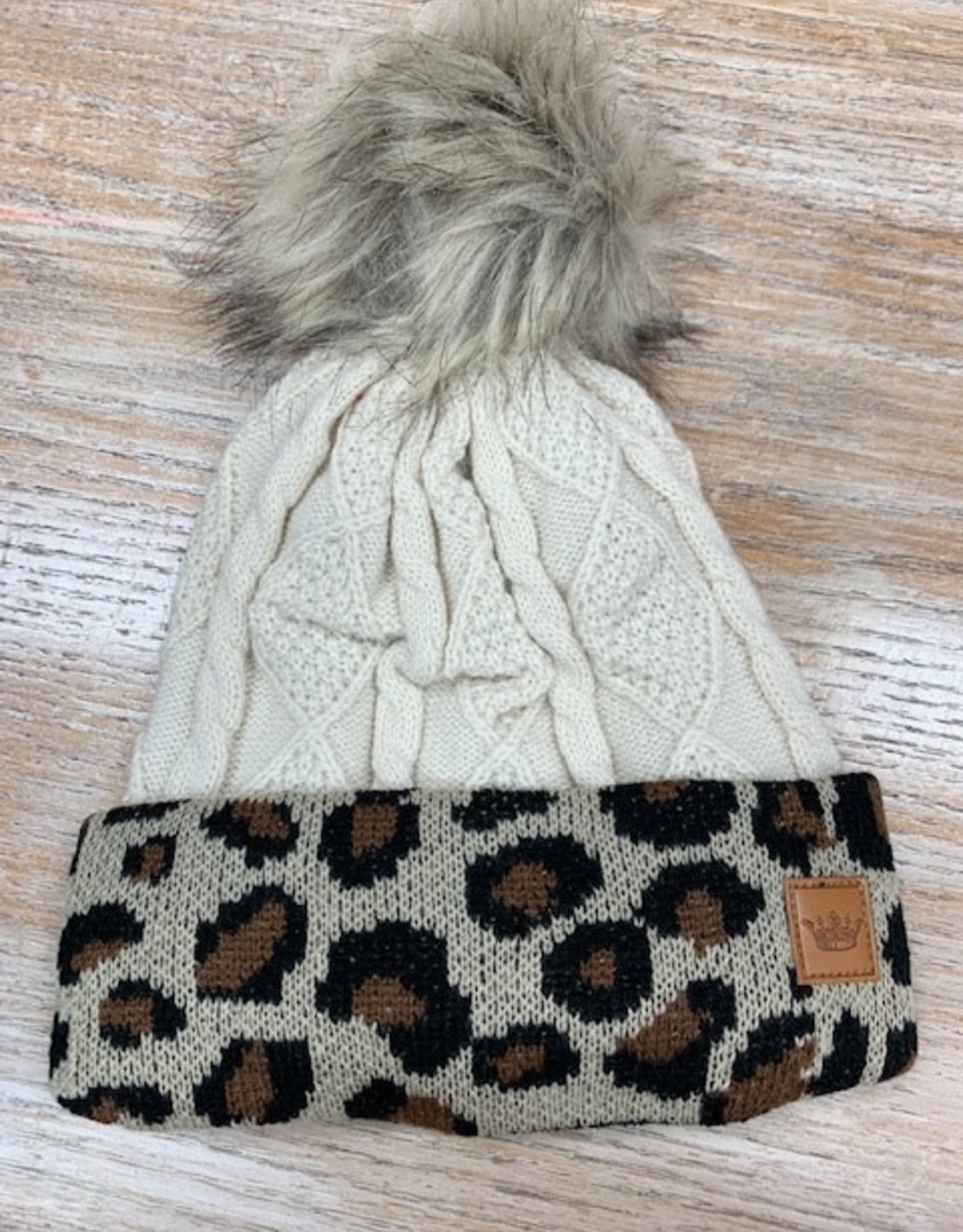 Beanie Ivory Cable Leopard Cuff Pom Beanie