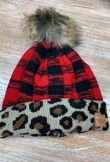 Beanie Red Buffalo Plaid Leopard Cuff Pom Beanie