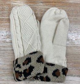 Mittens Ivory Leopard Cuff Mittens