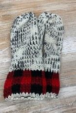 Mittens Grey Marble Red Buffalo Trim Mittens
