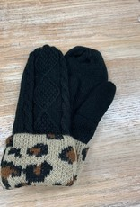 Mittens Black Cable Leopard Cuff Mittens