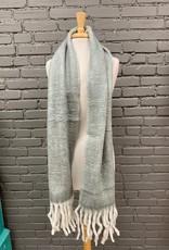 Scarf Grey Long Soft Scarf w/ Fringe