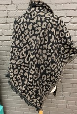 Scarf Black Taupe Leopard Blanket Scarf
