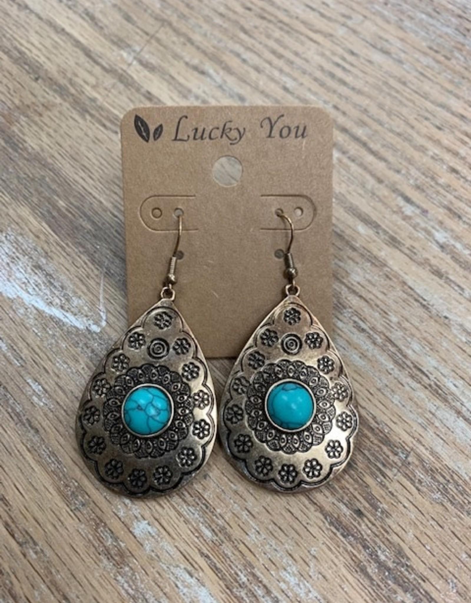 Jewelry Bronze Western Turquoise Earrings