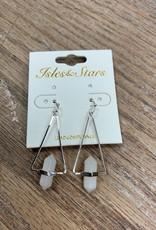 Jewelry Silver Triangle Gem Earrings