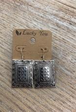 Jewelry Silver Square Western Earrings