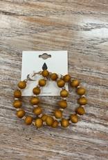 Jewelry Light Brown Beaded Hoop Earrings