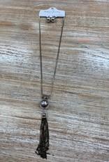 Jewelry Long Silver Bead Black Tassel Necklace