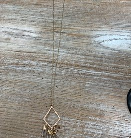 Jewelry Long Gold Triangle Gem Necklace