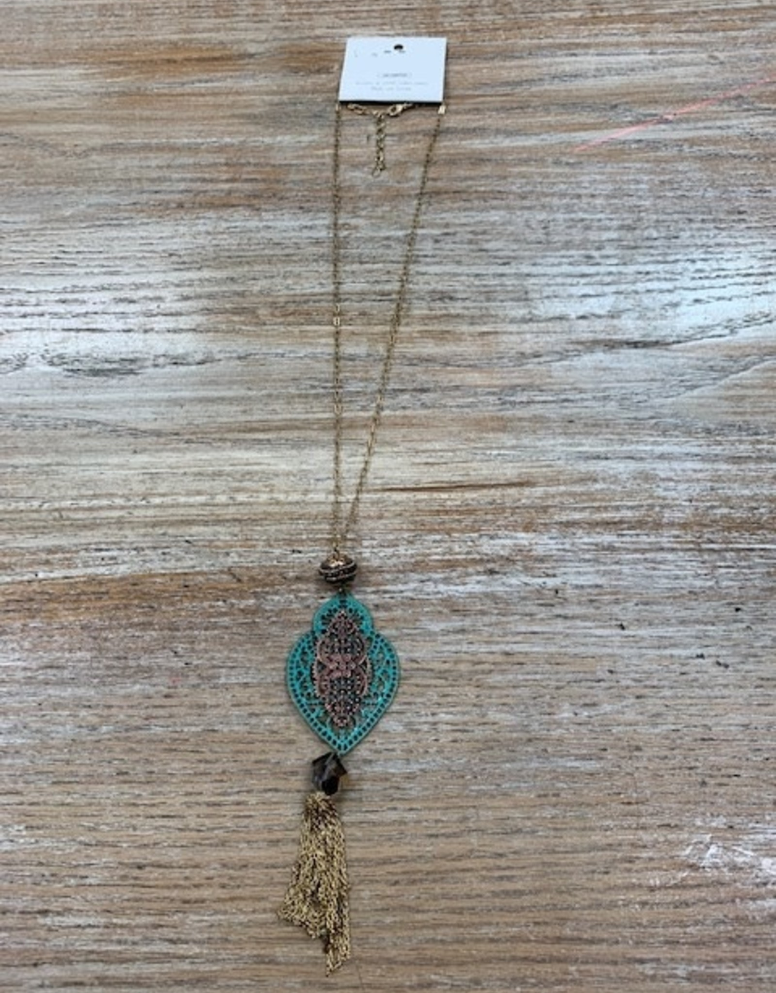 Jewelry Long Gold Patina Designed Necklace