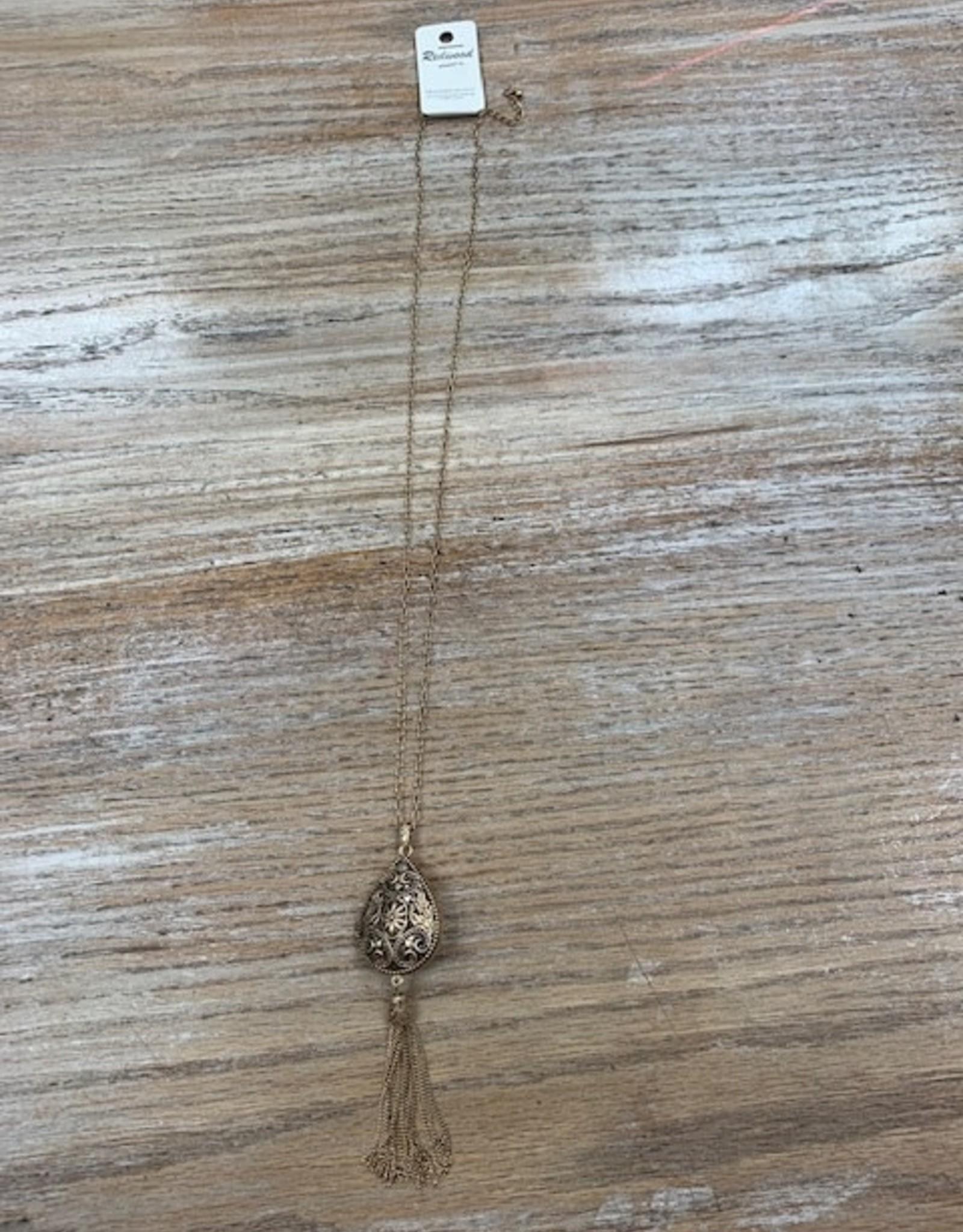 Jewelry Long Gold Teardrop Locket Necklace
