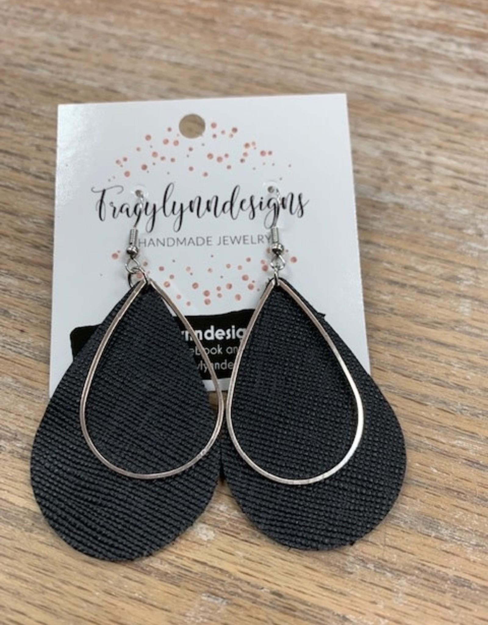 Jewelry TLD Black Metal Teardrop Earrings