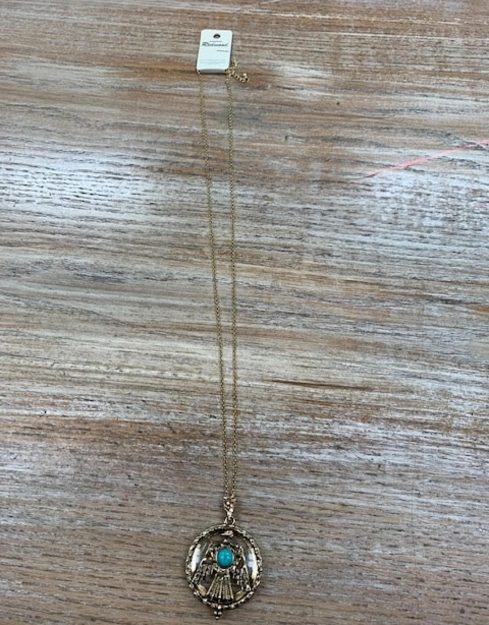 Jewelry Long Gold Thunderbird Pendant Necklace