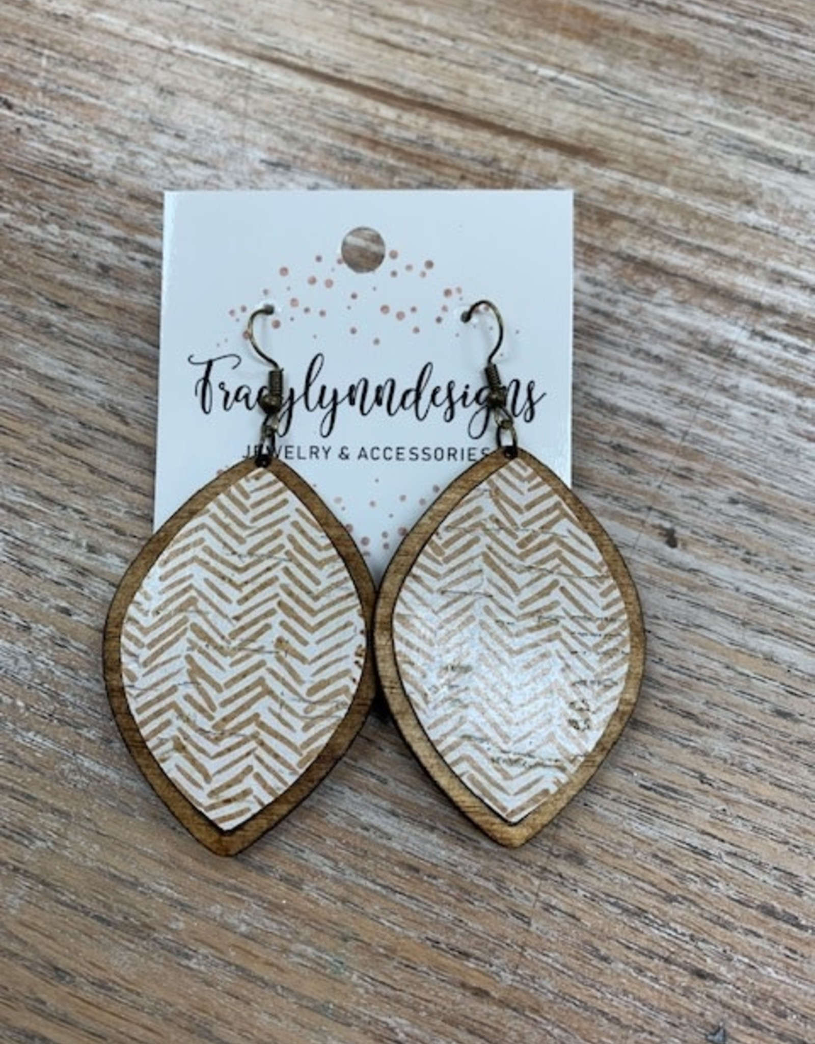Jewelry TLD Wooden Taupe Chevron Earrings