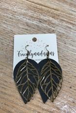 Jewelry TLD Black Metal Leaf Earrings