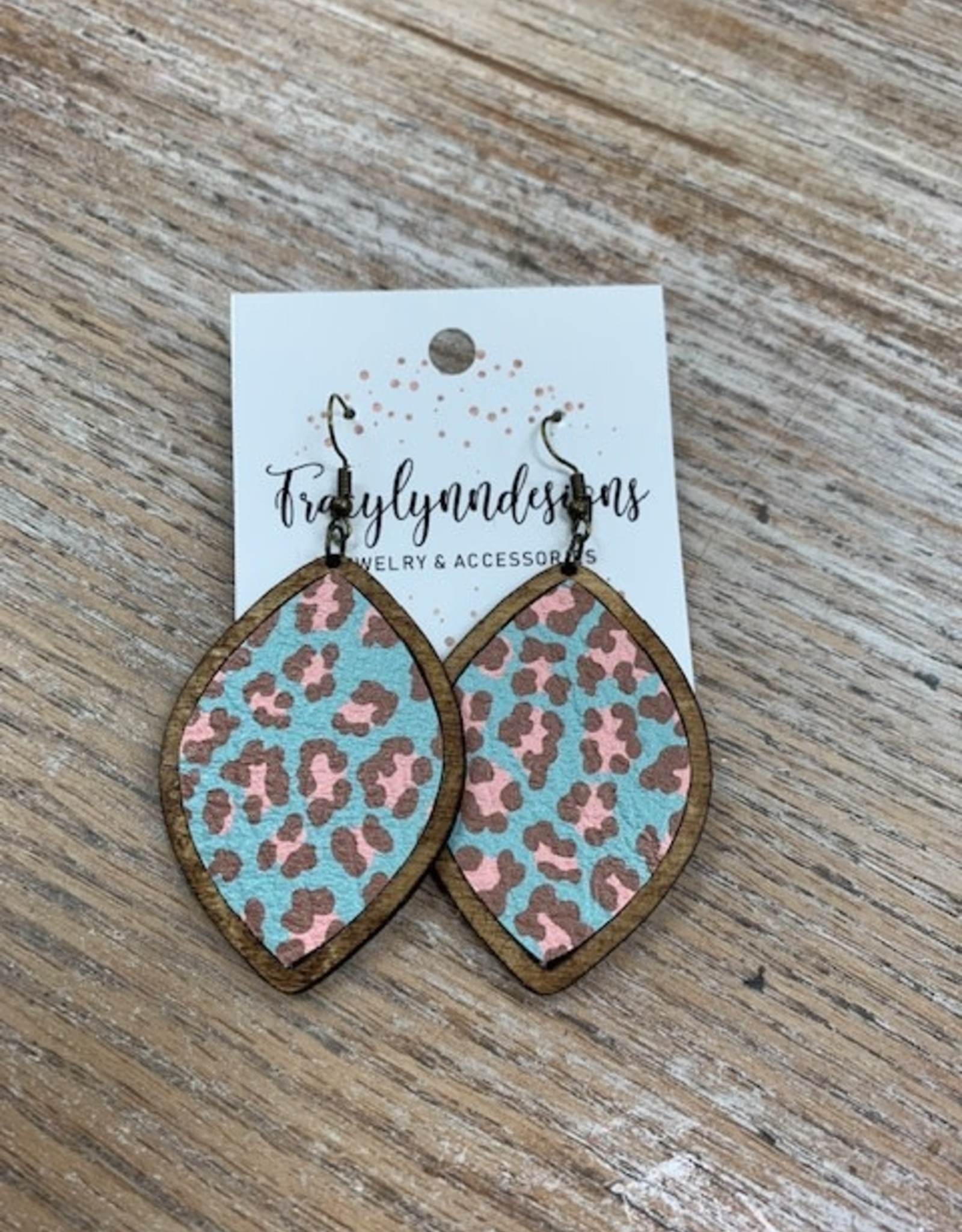Jewelry TLD Aqua Cheetah Wood Earrings