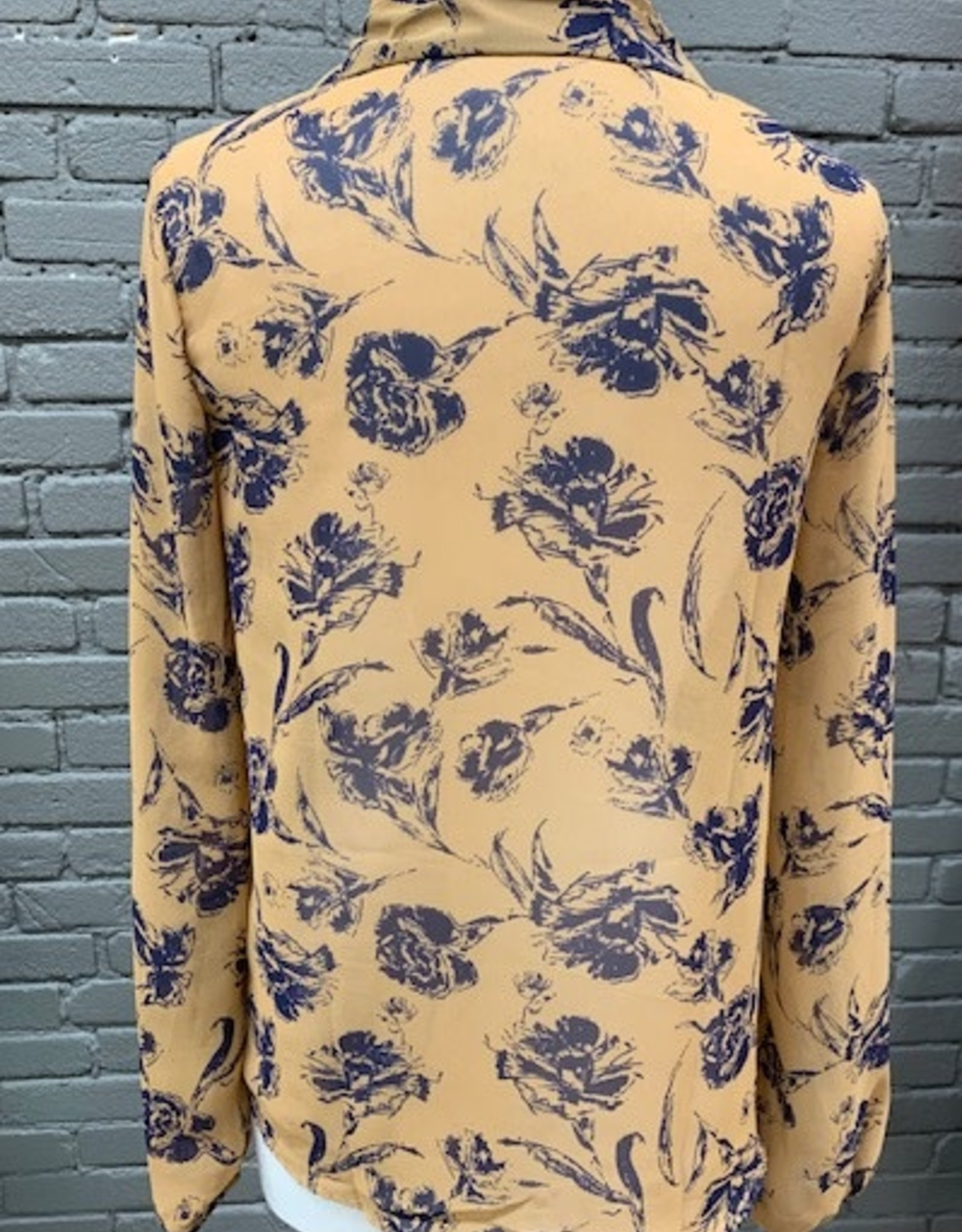 Blouse Julianna Floral Sheer Button LS