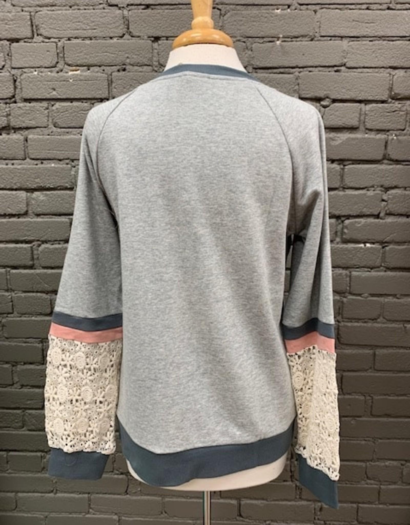 Long Sleeve Abigal Colorblock Lace LS
