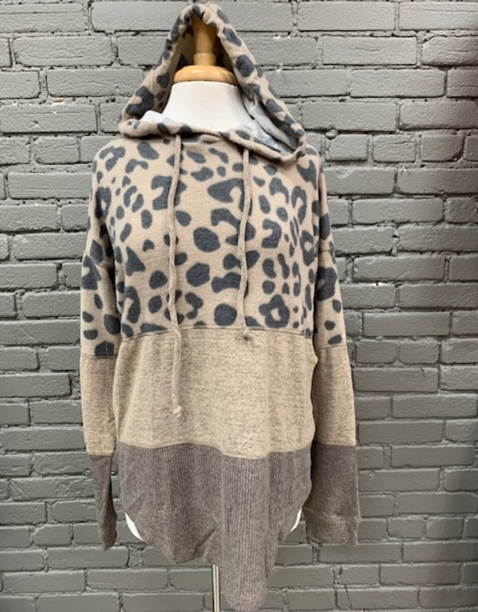Long Sleeve Adele Mixed Fabric Hoodie