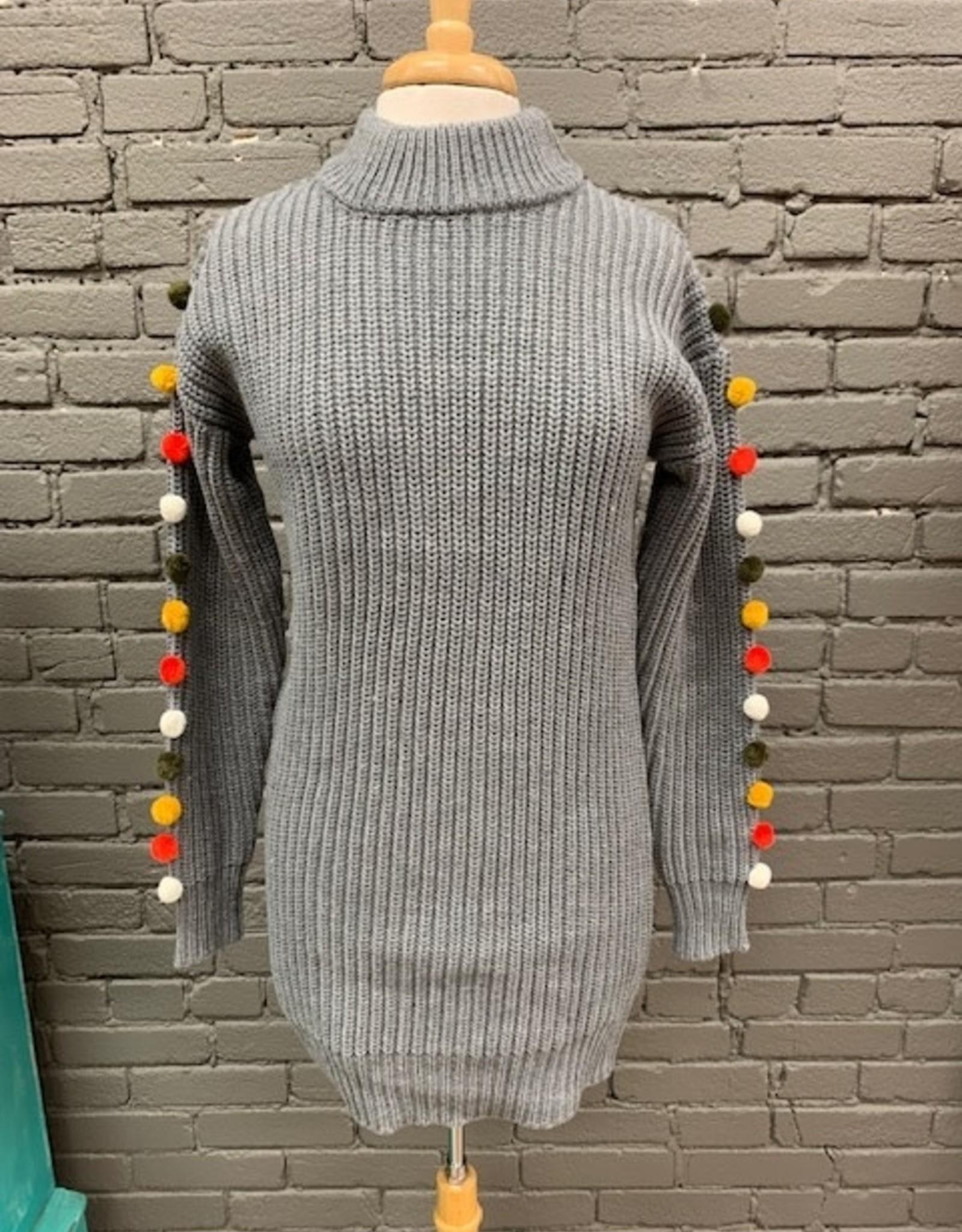 Dress Jenny Pom Sleeve Sweater Dress
