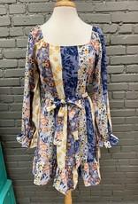 Dress Hailey Stripe Floral LS Tie Dress