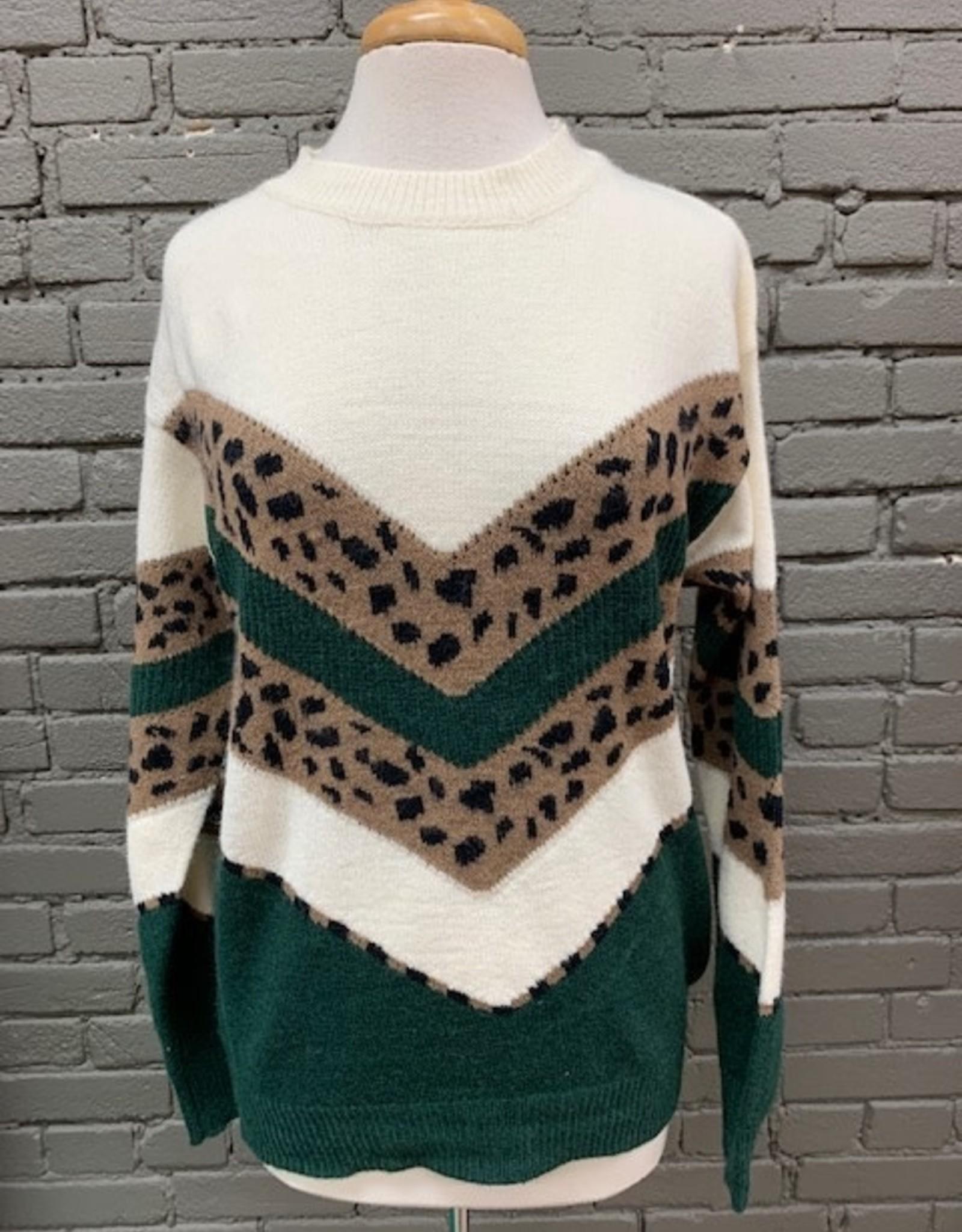 Sweater Lindsay Leopard Chevron Sweater