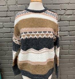 Sweater Heather Stripe Pattern Sweater
