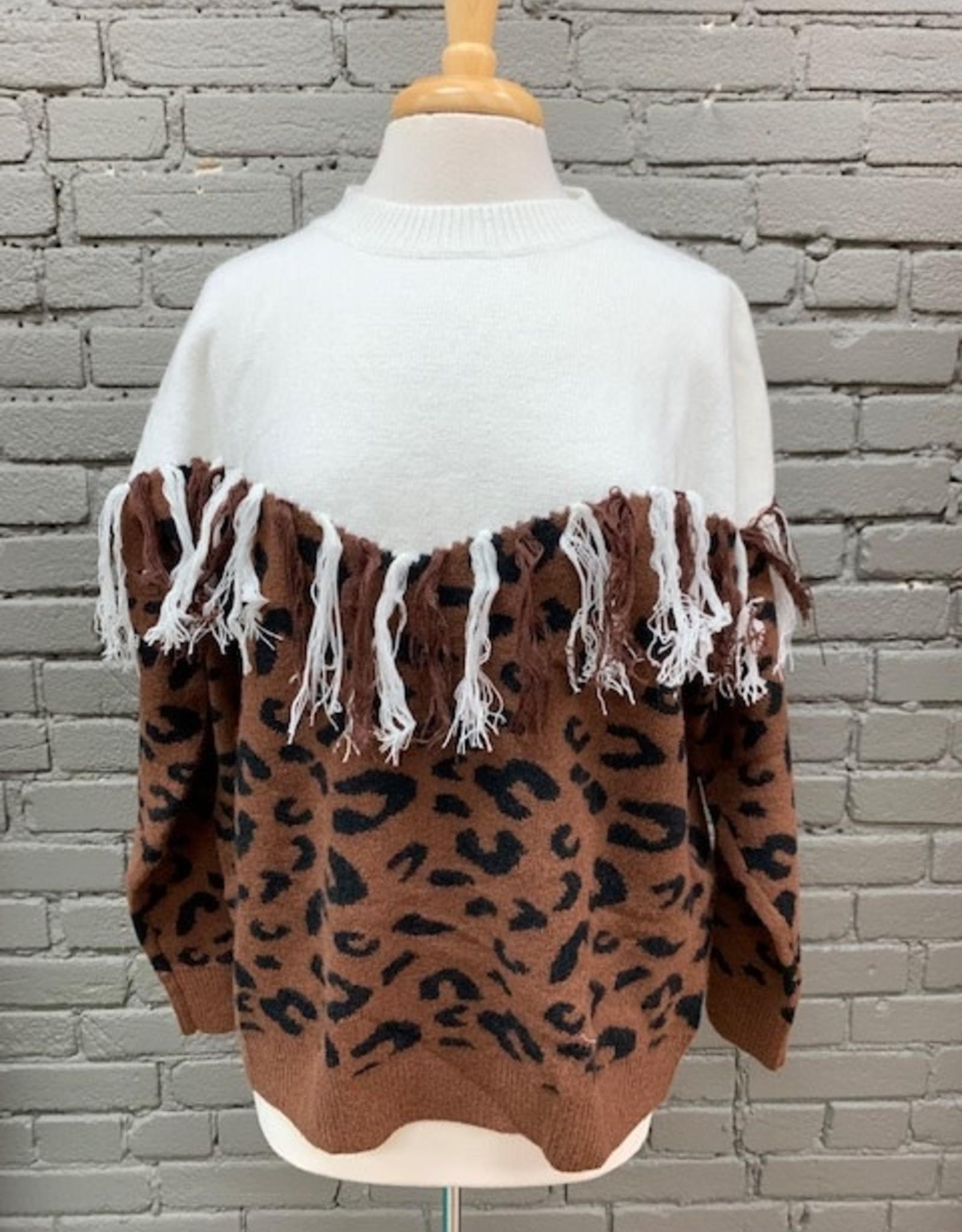 Sweater Reba Leopard Fringe Sweater