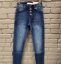Jean Evianna High Rise Button Ankle Fray Jeans