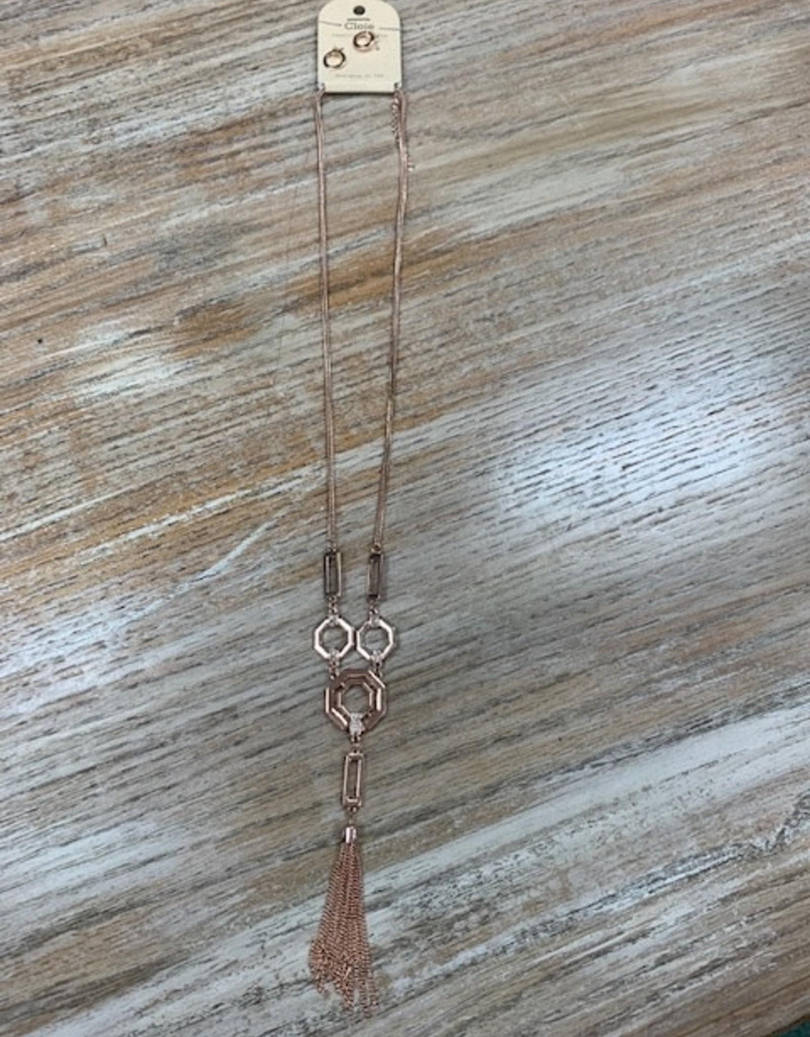 Jewelry Long Rose Gold Shape Tassel Necklace
